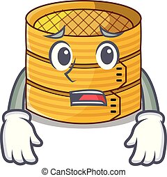 Afraid bamboo steamer food isolated on mascot