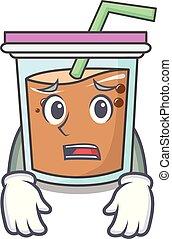Afraid bubble tea mascot cartoon