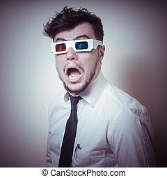 afraid businessman with 3d eyewear