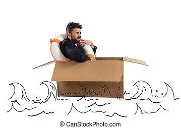 Afraid businessman with cardboard in the ocean