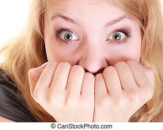 Portrait of afraid businesswoman frightened woman covering mouth with hands isolated on white. Stress in work.