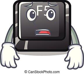 Afraid button f5 in the shape cartoon vector illustration