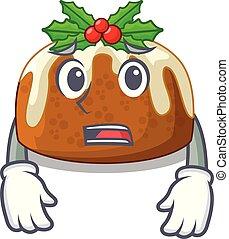 Afraid christmas pudding on dinning table cartoon