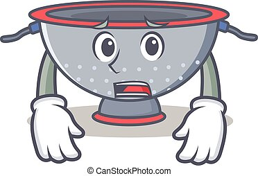 Afraid colander utensil character cartoon vector...