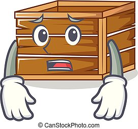 Afraid crate mascot cartoon style