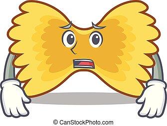 Afraid Farfalle pasta mascot cartoon
