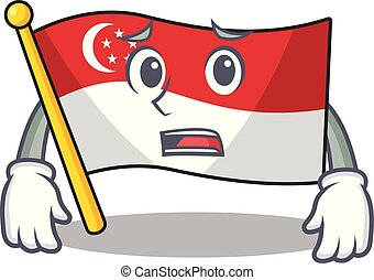 Afraid flag singapore isolated with the character vector illustration