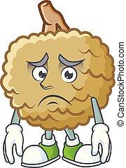 Afraid fresh marolo fruit character mascot in cartoon