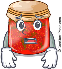 Afraid fresh tasty strawberry jam on mascot vector...