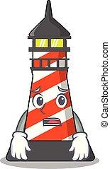 Afraid lighthouse on the beach mascot