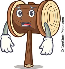 Afraid mallet mascot cartoon style