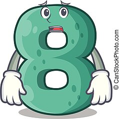 Afraid number eight made with cartoon shaped