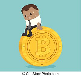 Afraid of African business, sitting on a coin with depression
