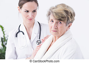 Afraid of her medical condition - Woman doctor with the...