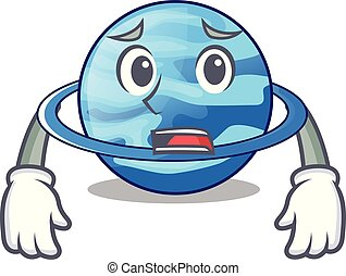 Afraid planet uranus in the cartoon form vector illustration