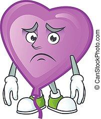 Afraid purple love balloon Cartoon character mascot design