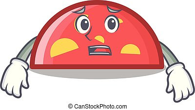 Afraid semicircle mascot cartoon style