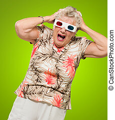 Afraid Senior Woman Wearing 3d Glasses