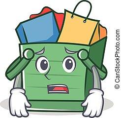 Afraid shopping basket character cartoon