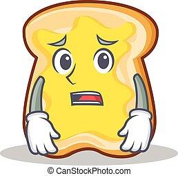 Afraid slice bread cartoon character vector art illustration