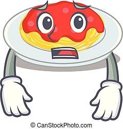 Afraid spaghetti character cartoon style
