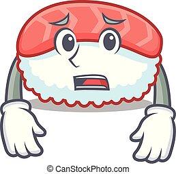 Afraid sushi salmon mascot cartoon