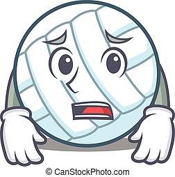 Afraid volley ball character cartoon vector illustration