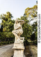 Afraid Woman Statue in Villa Giulia, Palermo, Italy - Afraid...