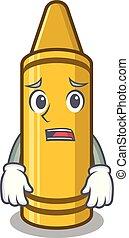 Afraid yellow crayon in the cartoon wallet
