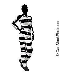 Afrcian American Female Criminal Silhouette Illustration -...
