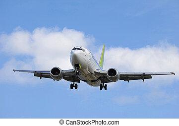 afrejse, jet flyvemaskine, land