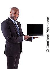 afričan, amercian, člověk obchodního ducha, showing, jeden, laptopn, chránit