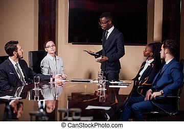 afričan američanka, člověk obchodního ducha, daný, věnování, do, přičlenuje