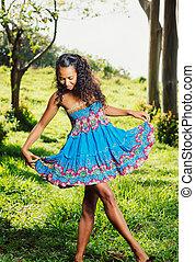 afričan američanka eny, lifestyle, náhodný, žert, pojem
