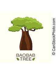 afričan, baobab kopyto, ikona, s, text, osamocený, oproti neposkvrněný, grafické pozadí., vektor, ilustrace