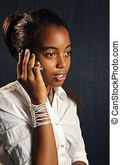 afričan, dívčí, s, cela telefonovat
