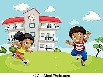 afričan, děti, před, škola