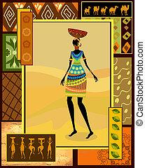 afričan, děvče, oblečený, do, jeden, ozdobný