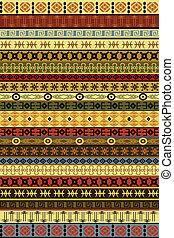 afričan, etnický, motivy, koberec