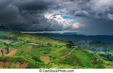 afričan, krajina, deštivý, období