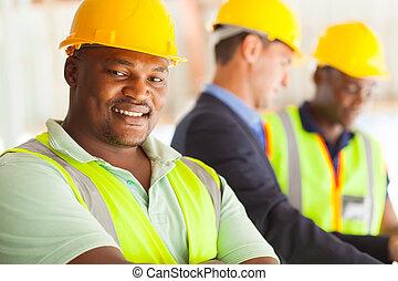 afričan, průmyslový, inženýr