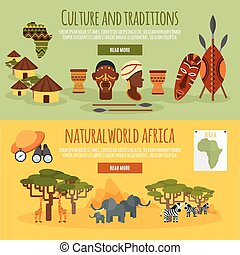 Africa 2 flat banners set