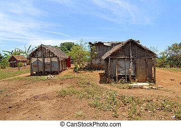 Africa Madagascar stilt house of straw