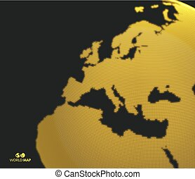 Africa and Europe. Vector map of the world. Global business marketing concept. Dotted style. Design for education, science, web presentations.