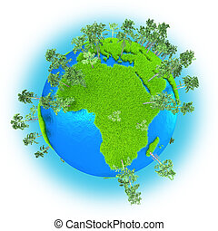 Africa and Western Asia on grassy planet Earth with trees isolated on white background