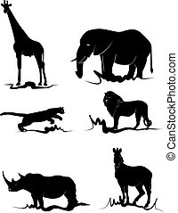 Africa animal - African animals in black on white background