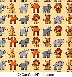 africa animals safari wildlife seamless pattern