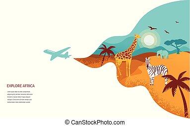 Africa banner, vector illustration of Safari, animals, tribal symbols