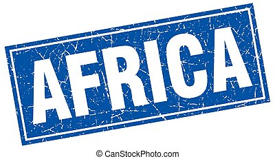 Africa blue square grunge vintage isolated stamp