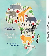 cartoon animal map